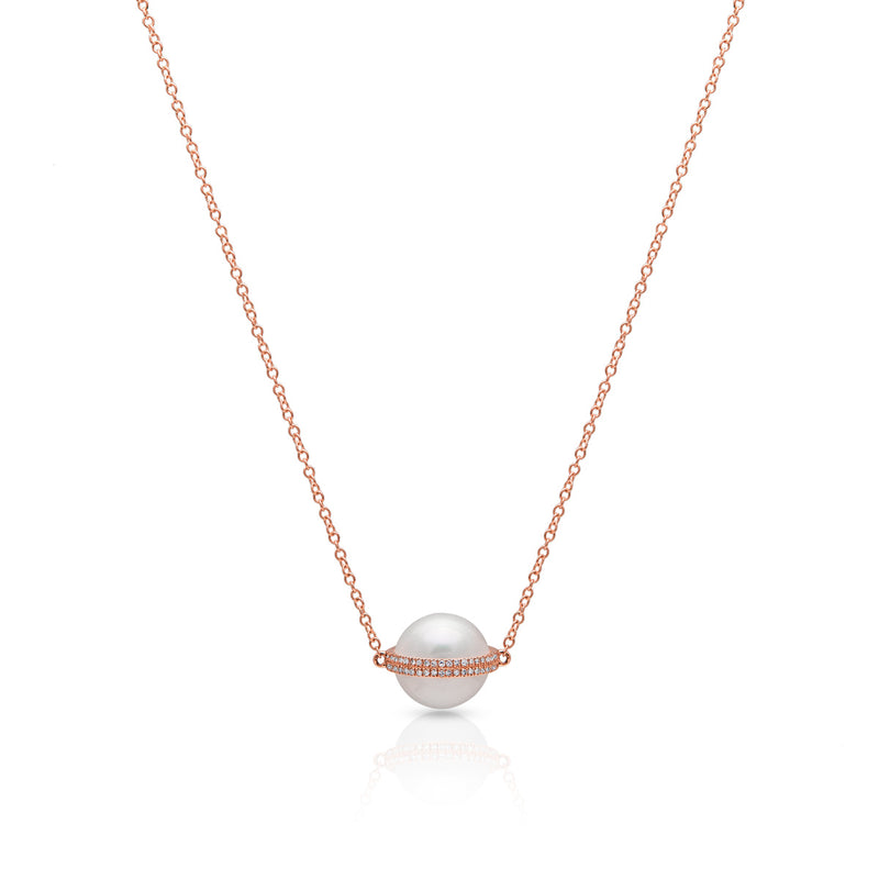 14KT Rose Gold Diamond Pearl Hannah Necklace