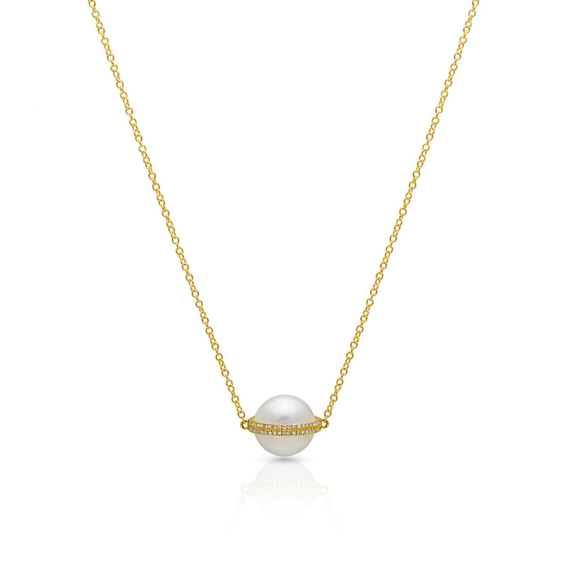 14KT Yellow Gold Diamond Pearl Hannah Necklace