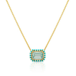 18KT Yellow Gold Green Amethyst Turquoise Diamond Portofino Necklace