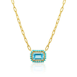 18KT Yellow Gold Blue Topaz Turquoise Diamond Portofino Chain Link Necklace
