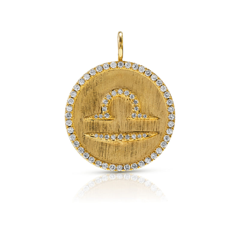 14KT Yellow Gold Diamond Zodiac Libra Medallion Charm
