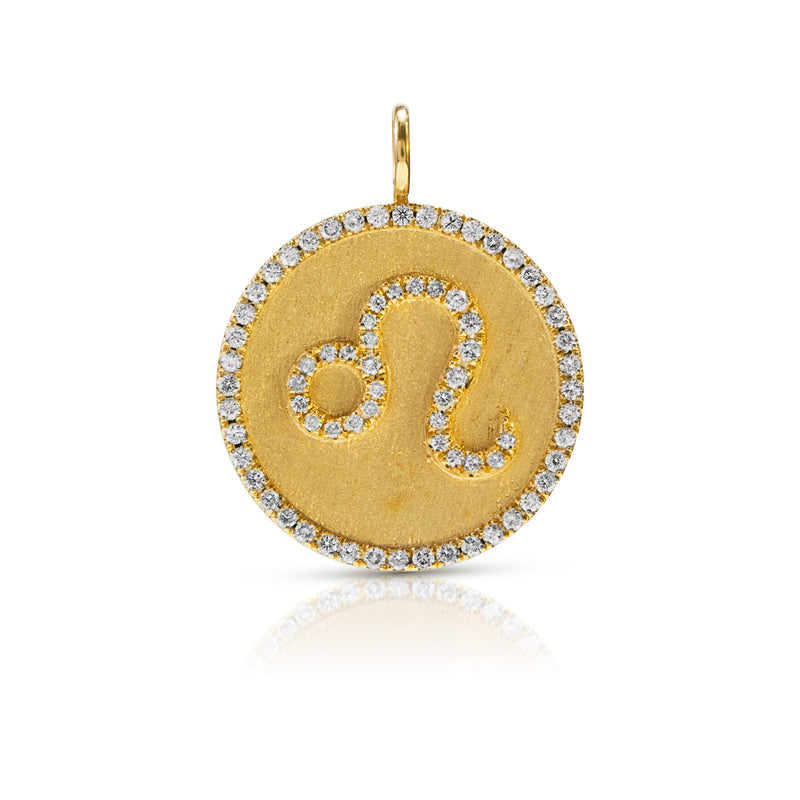14KT Yellow Gold Diamond Zodiac Leo Medallion Charm