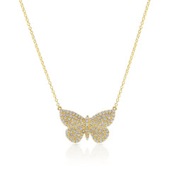 14KT Yellow Gold Luxe Pave Diamond Butterfly Necklace - Anne Sisteron