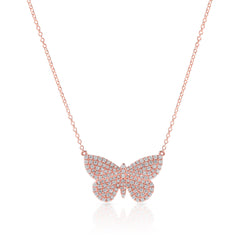 14KT Rose Gold Luxe Pave Diamond Butterfly Necklace