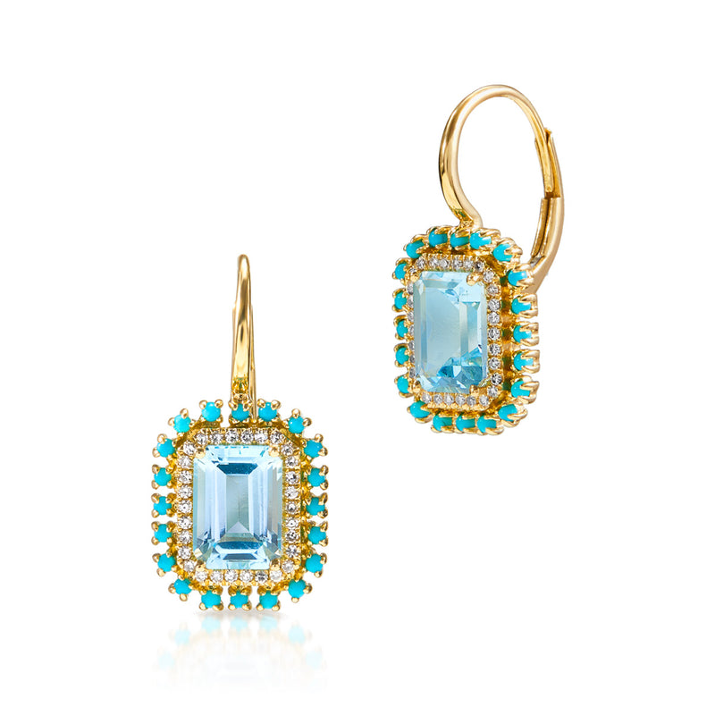 14KT Yellow Gold Blue Topaz Turquoise Diamond Monaco Leverback Earrings