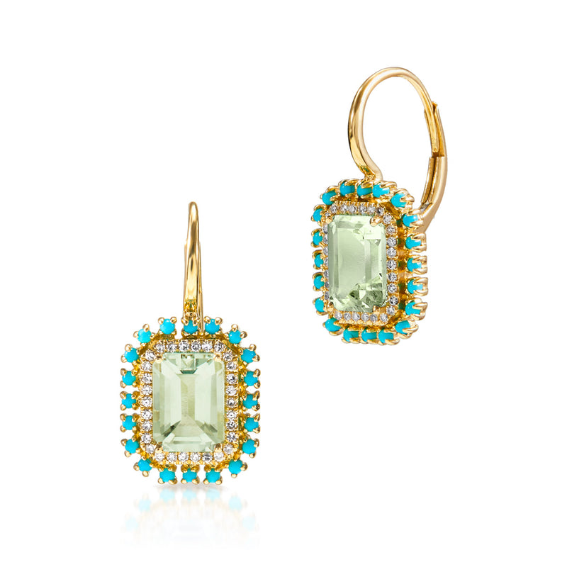 14KT Yellow Gold Green Amethyst Turquoise Diamond Monaco Leverback Earrings