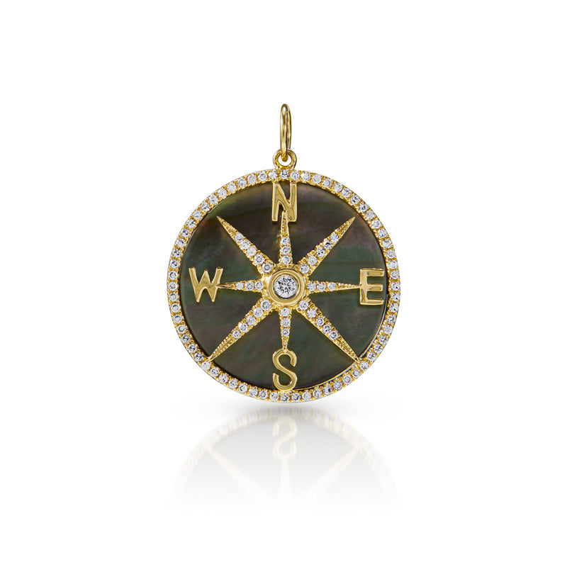14KT Yellow Gold Black Mother of Pearl Diamond Compass Charm