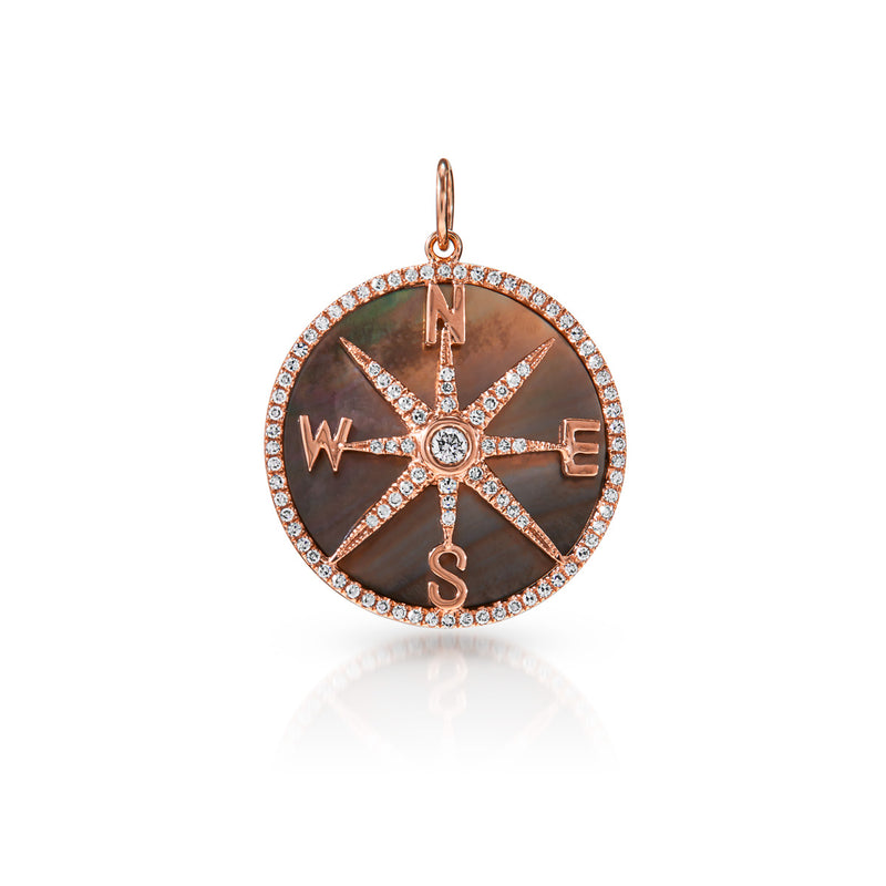 14KT Rose Gold Black Mother of Pearl Diamond Compass Charm