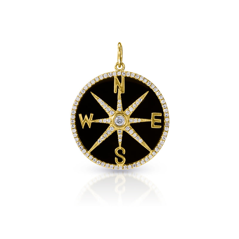 14KT Yellow Gold Black Onyx Diamond Compass Charm