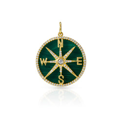 14KT Yellow Gold Malachite Diamond Compass Charm