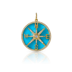 14KT Yellow Gold Turquoise Diamond Compass Charm