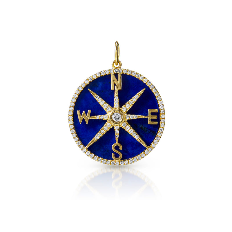 14KT Yellow Gold Lapis Diamond Compass Charm