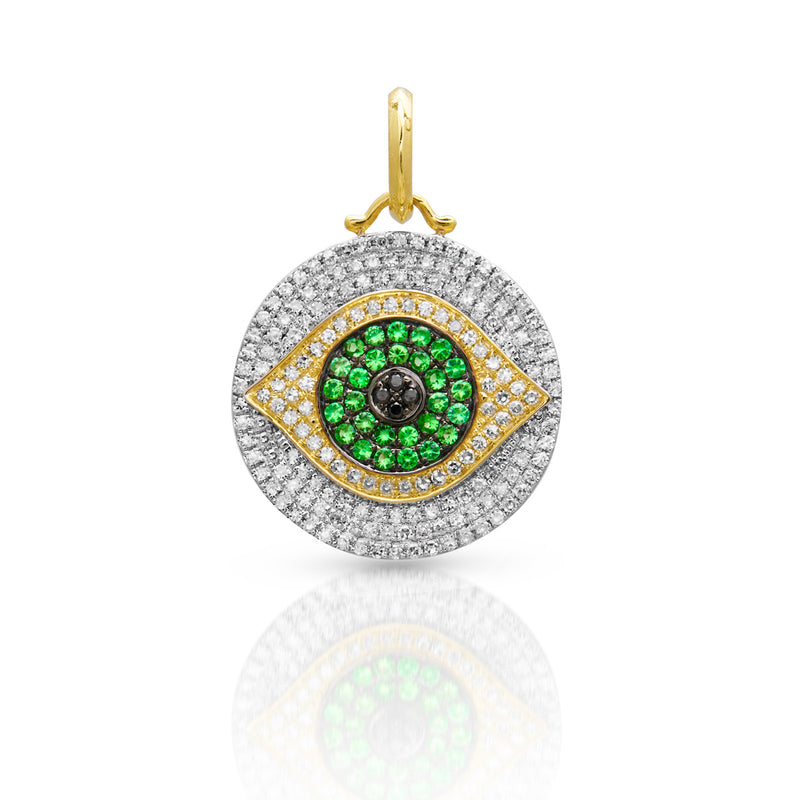 14KT Yellow Gold Diamond Tsavorite Evil Eye Charm Pendant