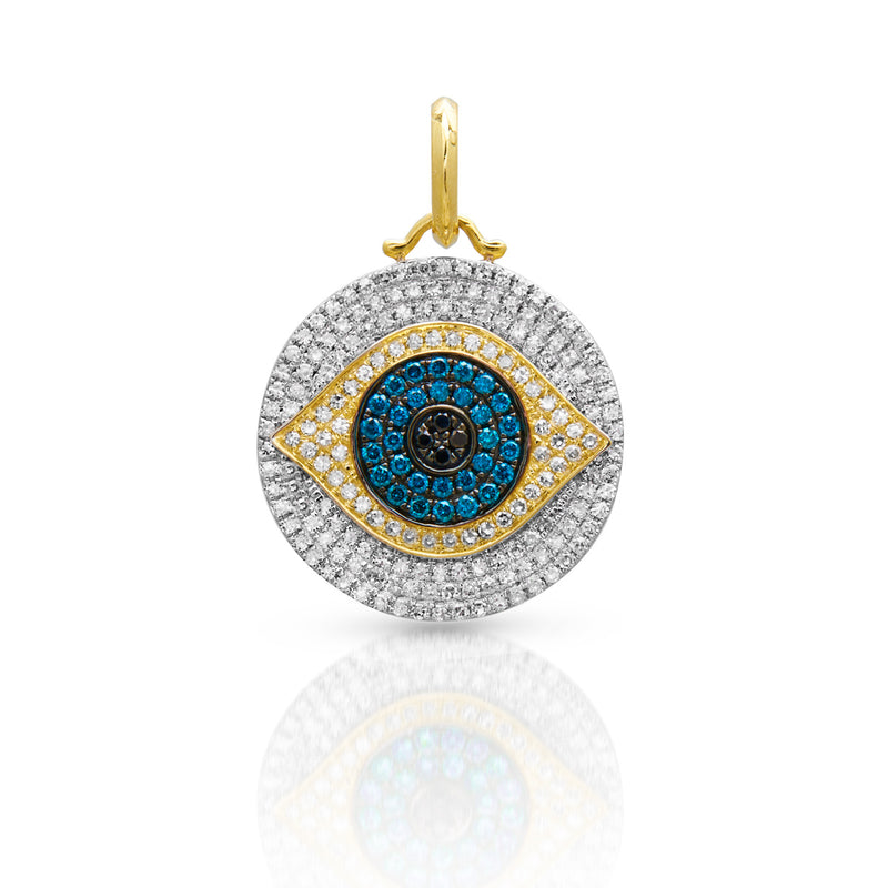 14KT Yellow Gold Blue Diamond Evil Eye Charm Pendant