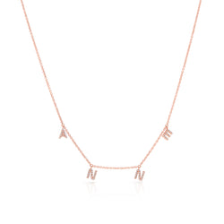 14KT Rose Gold Diamond Personalized Dangling Name Necklace