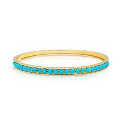 14KT Yellow Gold Turquoise Bangle Bracelet
