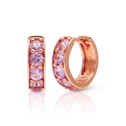 14KT Rose Gold Pink Sapphire Huggie Earrings