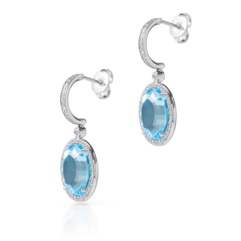 18KT White Gold Blue Topaz Diamond Adelina Earrings