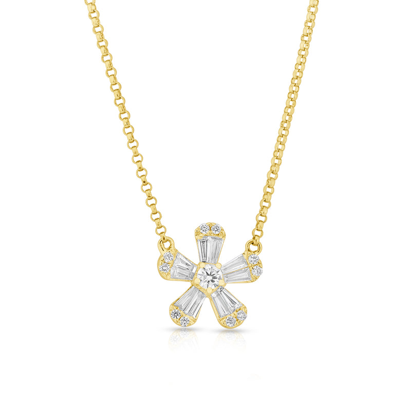 14KT Yellow Gold Baguette Diamond Daisy Necklace