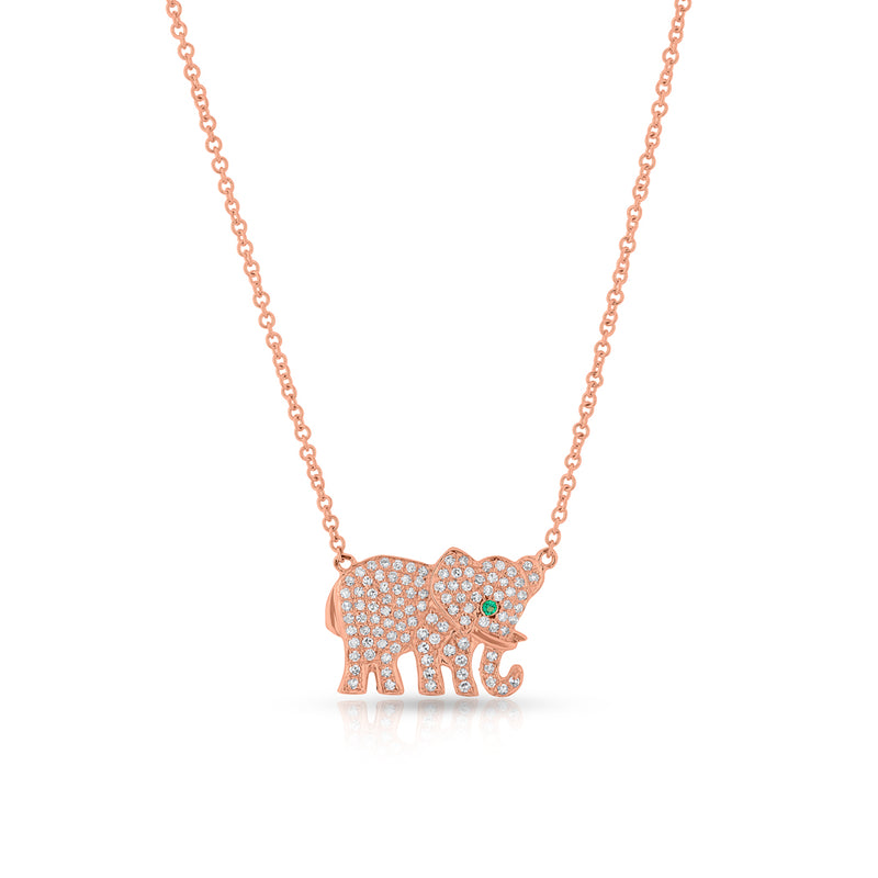 14KT Rose Gold Diamond Emerald KAAP Elephant Necklace