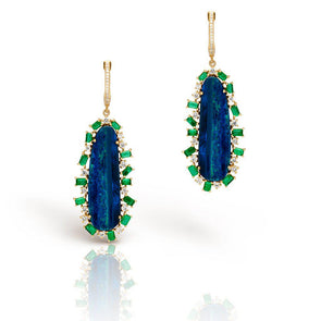 14KT Yellow Gold Diamond Opal Emerald Oblong Earrings