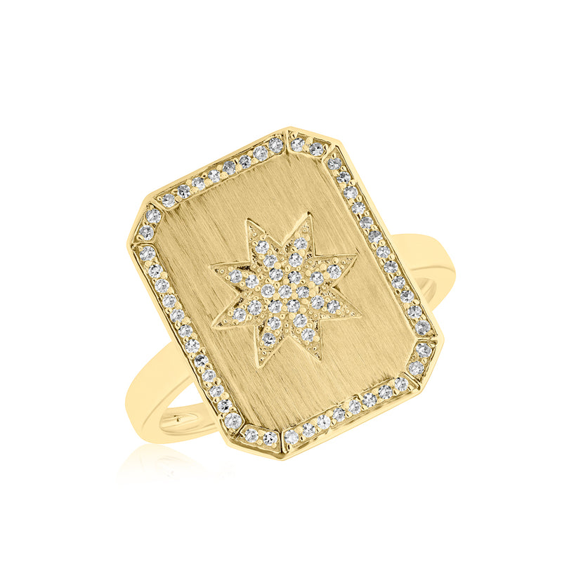14KT Yellow Gold Diamond Star Charmed Ring