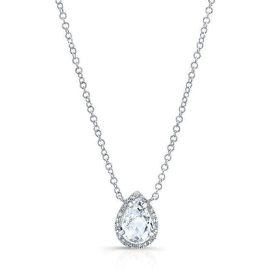 14KT White Gold Diamond White Topaz Pear Necklace