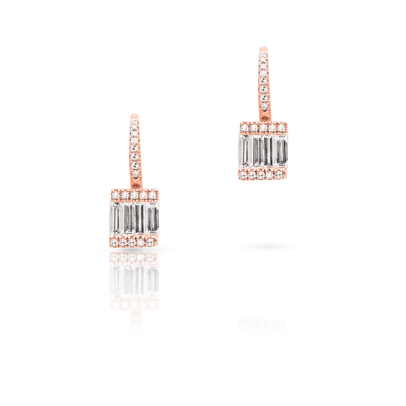 14KT Rose Gold Baguette Diamond Square Huggie Earrings