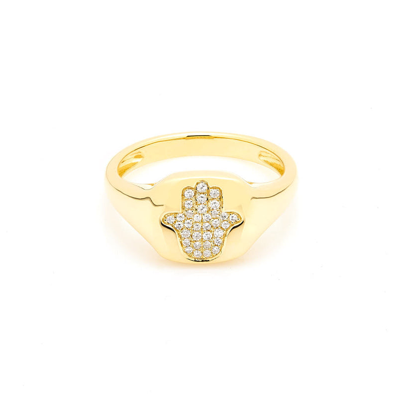 14KT Yellow Gold Diamond Hamsa Pinkie Ring