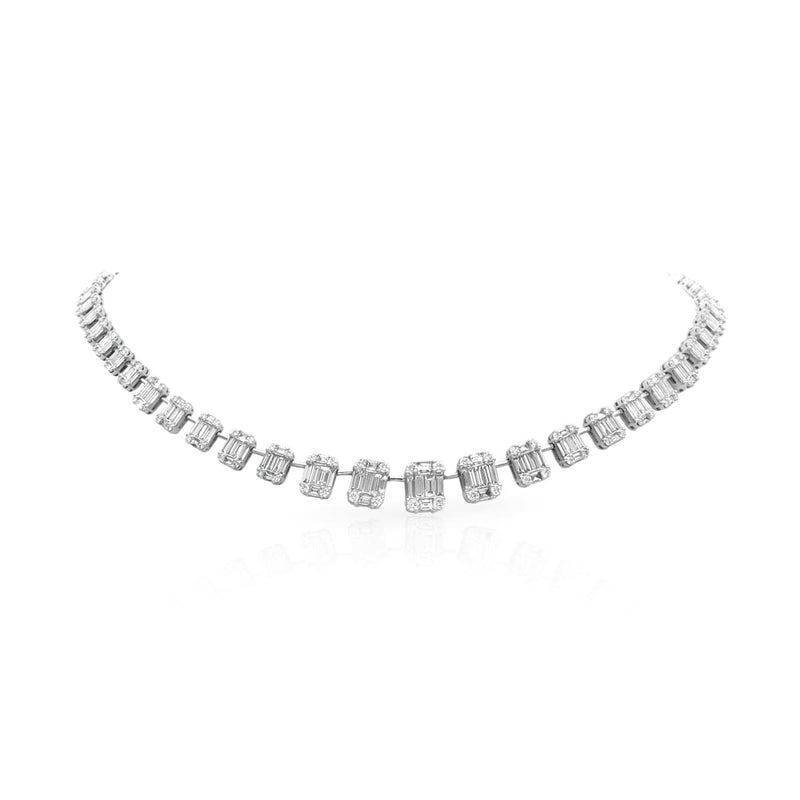 14KT White Gold Baguette Diamond Astor Necklace