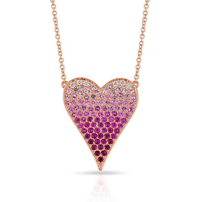 14KT Rose Gold Diamond Ombre Heart Necklace