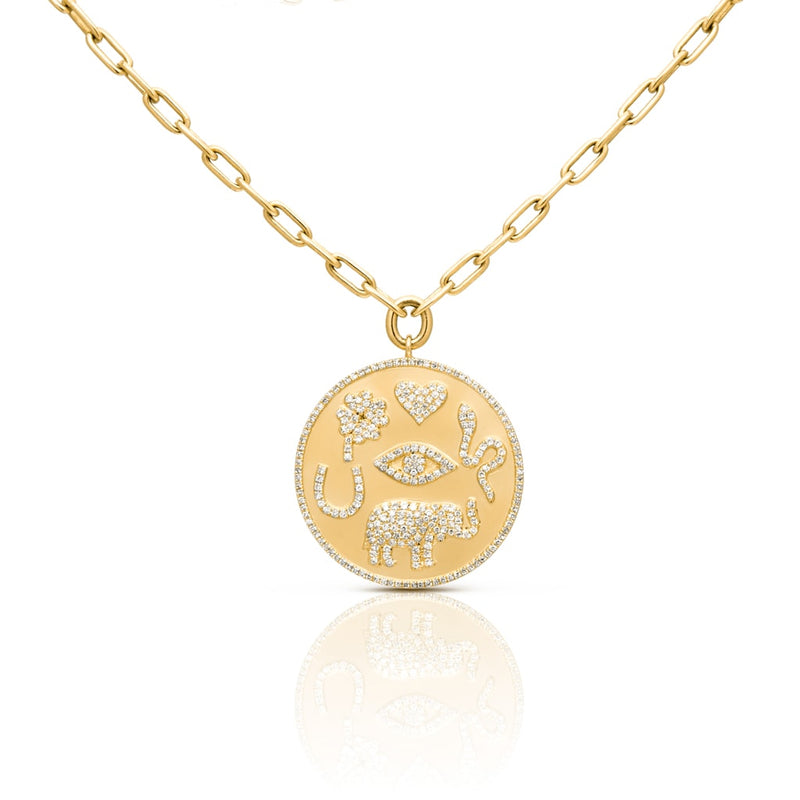 14KT Yellow Gold Diamond Talisman Medallion Chain Necklace