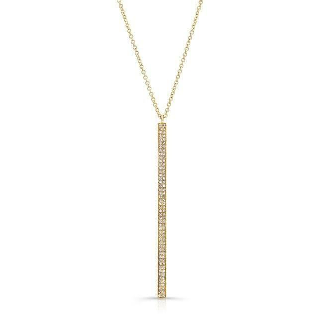 14KT Yellow Gold Diamond Beam Necklace
