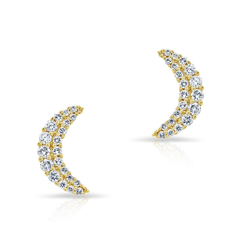 14KT Yellow Gold Diamond Crescent Moon Stud Earrings