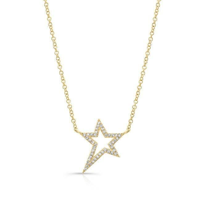 14KT Yellow Gold Diamond Bowie Rockstar Necklace