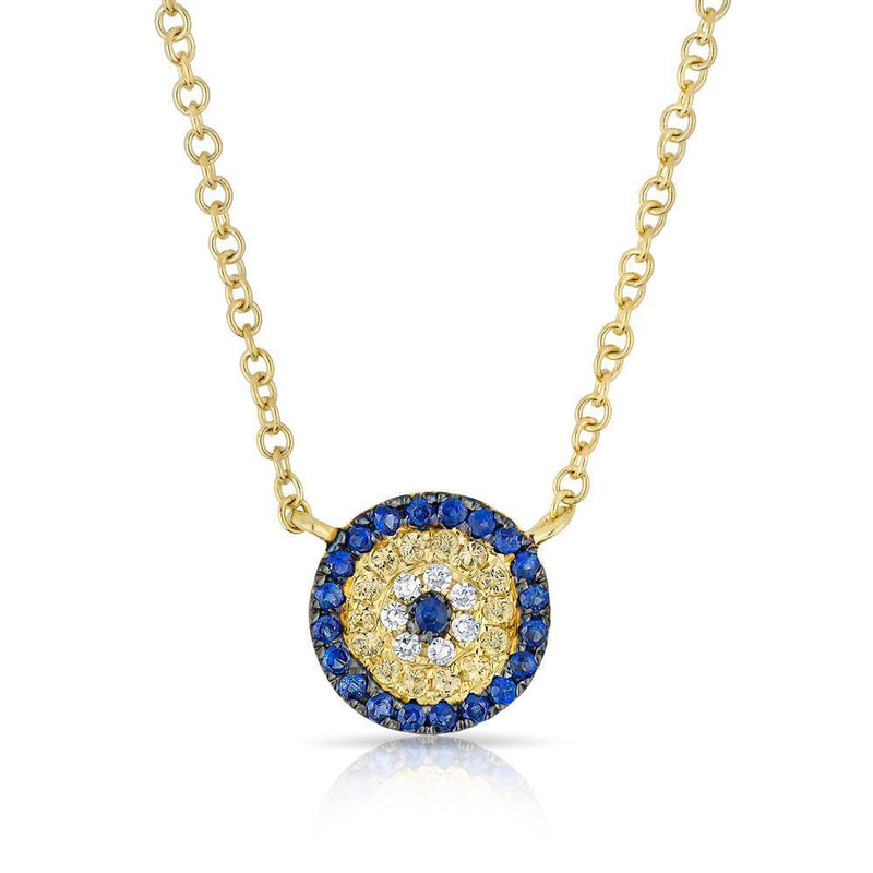 14KT Yellow Gold Diamond And Sapphire Mini Disc Necklace