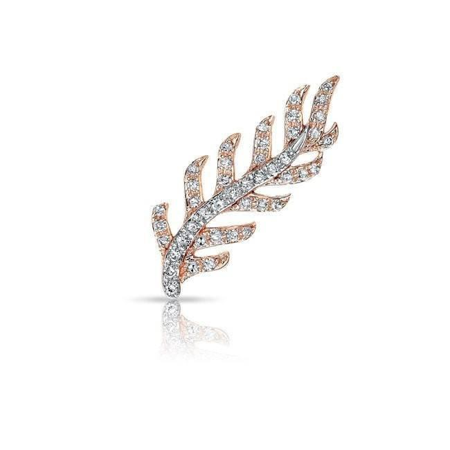 14KT Rose and White Gold Diamond Leaf Ear Climber