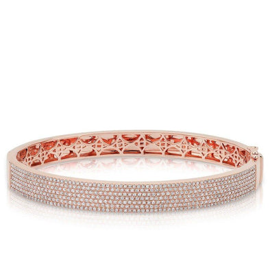 14KT Rose Gold Diamond Belle Half Pave Bangle