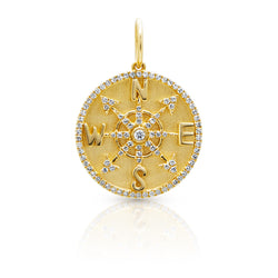 14KT Yellow Gold Diamond Compass Medallion Charm