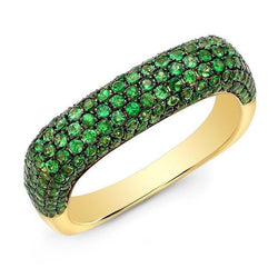 14KT Yellow Gold Tsavorite Square Ring