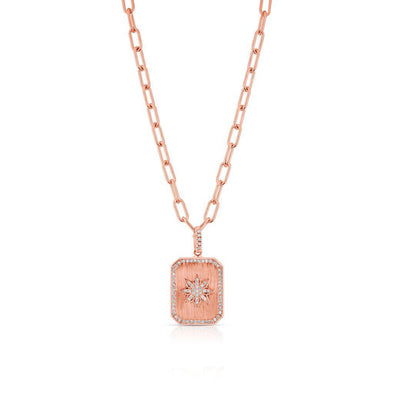 14KT Rose Gold Diamond Star Charmed Pendant Necklace