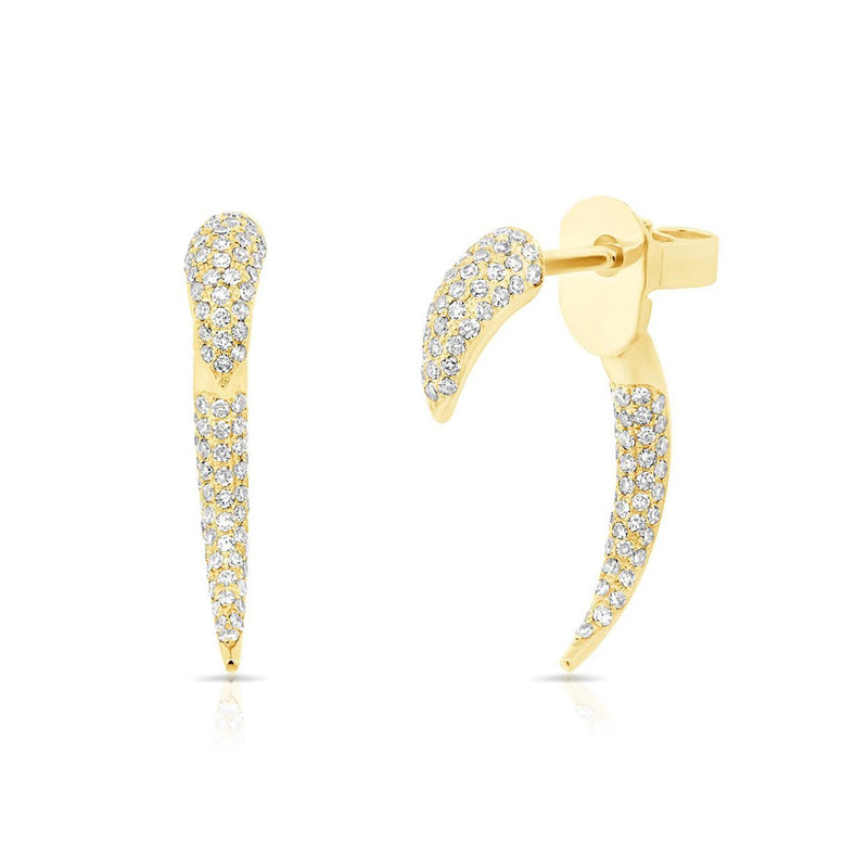 14KT Yellow Gold Diamond Mini Sabre Earrings