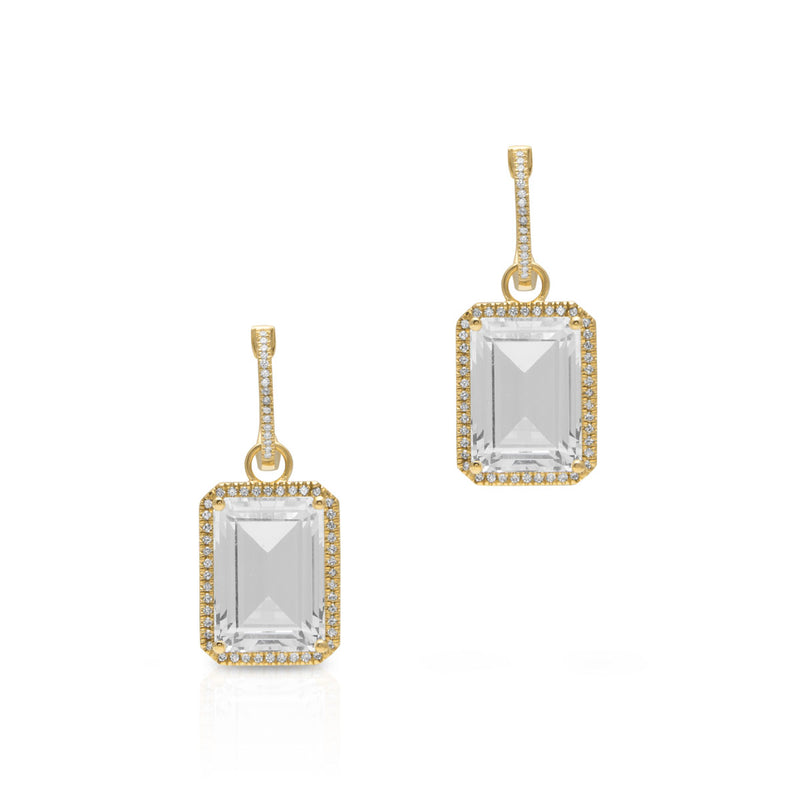 14KT Yellow Gold Diamond Topaz Maelle Earrings