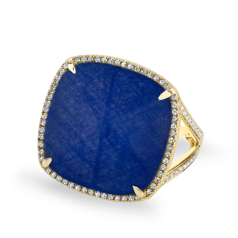 14KT Yellow Gold Diamond Blue Sapphire Laguna Triplet Cushion Cut Cocktail Ring