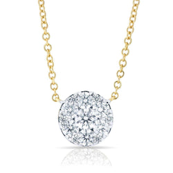 14KT Yellow Gold Diamond Round Pendant Laurie Necklace