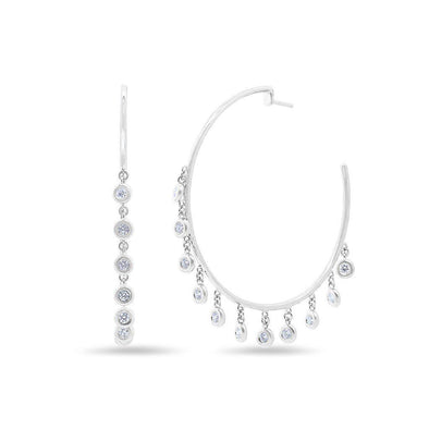 14KT White Gold Diamond Droplets Nile Hoop Earrings