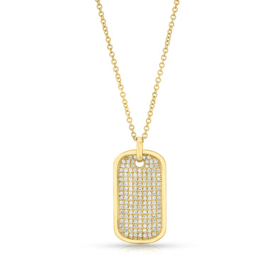 14KT Yellow Gold Diamond Dog Tag Necklace
