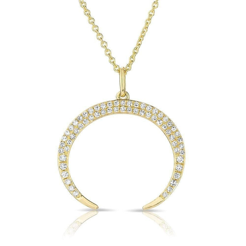 14KT Yellow Gold Diamond Crescent Cynthia Necklace