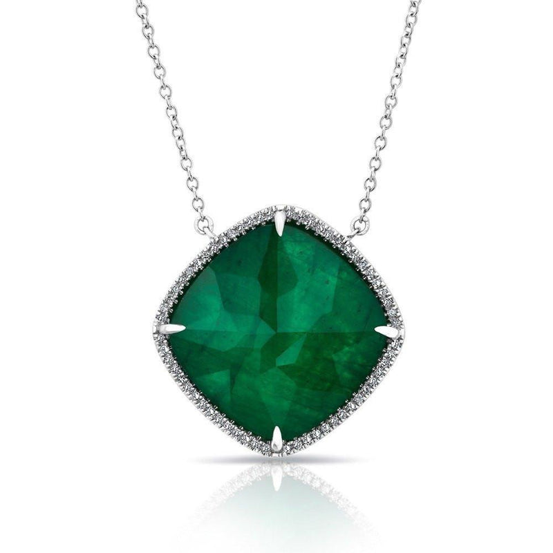 14KT White Gold Diamond Emerald Triplet Laguna Necklace