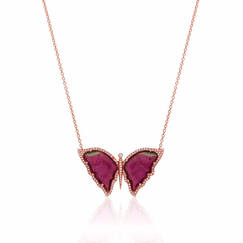 14KT Rose Gold Pink Tourmaline Diamond Large Butterfly Necklace